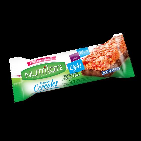 barra de cereal chocolate y frutilla