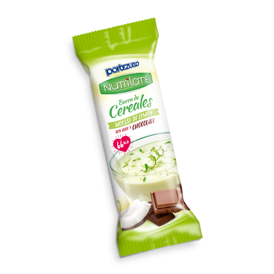 barra de cereal mousse de limón con coco y chocolate